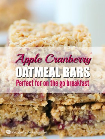 How to make grab and go breakfast bars. Apple cranberry oatmeal bars. Apple Cranberry Oatmeal Bars: Omg! I love this bars so much! It is seriously so easy to make these apple cranberry oatmeal bars. I make them for the morning to have with my coffee. I toast them a little in my oven to get crispy on top! Soooo good! Pinning for later!