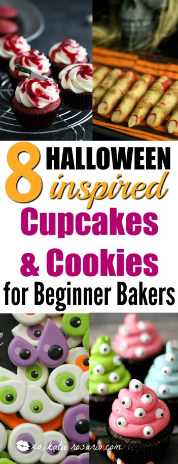 How to Make Halloween Spooky Inspired Cupcakes and Cookies for beginner newbie bakers and decorators