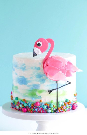 Flamingo trendy brushstrokes cake ideas for beginner bakers. Chocolate brushstrokes. I love decorating cakes and this new brushstroke trend is so cool! These cake ideas are genius and so easy to make for beginner bakers! It so simple to decorate these cakes! Very cool technique! Saving for later!