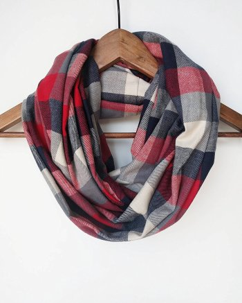 Red Cotton Buffalo Plaid Infinity Scarf. I love this guide! OMG! its so perfect for this holiday shopping season! I think most girls would love something from this post! The gift guide for her is perfect since everything is under $50. It certainly is going to make online shopping so much easier! Saving it for later!