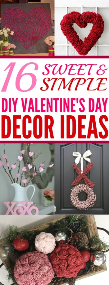 OMG! So Valentine's Day is right around the corner and I want to find cute decorations for my home! I am so excited to make some of these DIY home décor ideas! I love the heart banners and mantel accent decorations. The heart felt wreath is just so easy to make I can't believe it! I like making my own holiday decorations and I always forget about Valentine's Day but this is genius! Pinning for later!