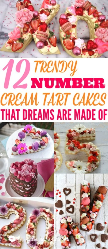 "OMG! I love these trendy ""number"" cream tart cakes! They are gorgeous and so easy to make! I like having these helpful recipes and video tutorials. These trendy cream tarts are all the rage! Also known as cream biscuits or cream cakes, you can cut them into letters, numbers, or shapes, and decorate them with fruits, flowers, and candies! I love this idea! This is a must try! #cakes #creamtarts #tarts #fruittart #sugarcookie #puffpastry #pastrycream #numbercake"