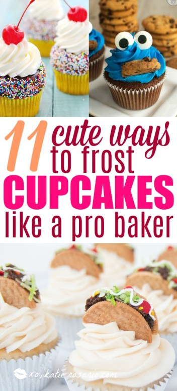 I love decorating cupcakes! There's so many different ways you can frost them. I think this post is brilliant because it shows you so many cute and really easy ways to decorate a cupcake. If you are a beginner baker then this is for you. Decorate like a professional after seeing this! #cupcakes #cakedecorating #DIYcupcakes #baking #cake #frosting
