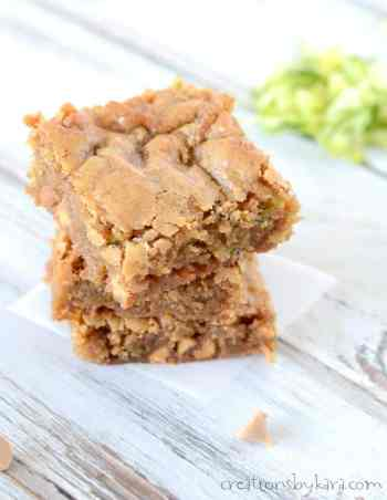 Chewy Butterscotch Zucchini Blondie Bars | Easy Desserts Made From Zucchini