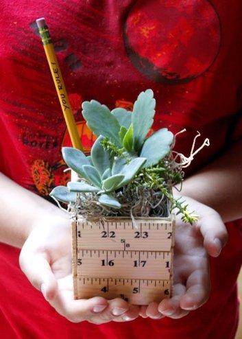 DIY Ruler Planter   DIY Teacher Gifts Back to School