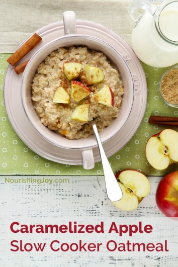 Caramelized Slow Cooker Apple Oatmeal | Crockpot Breakfast Recipes Busy Morning