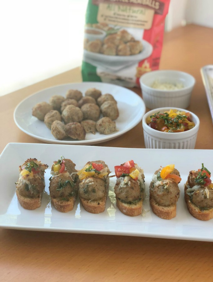 Cooked Perfect Frozen Meatballs |Basil Pesto Meatball Crostini Appetizer for Easy Entertaining