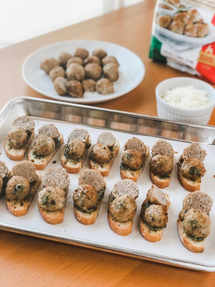 Basil Pesto Meatball Crostini Appetizer for Easy Entertaining by XO, Katie Rosario
