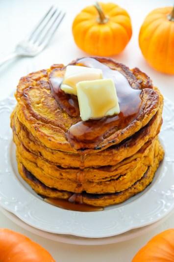 Fluffy Pumpkin Pancakes by Baker by Nature | Pumpkin Spice Pancakes