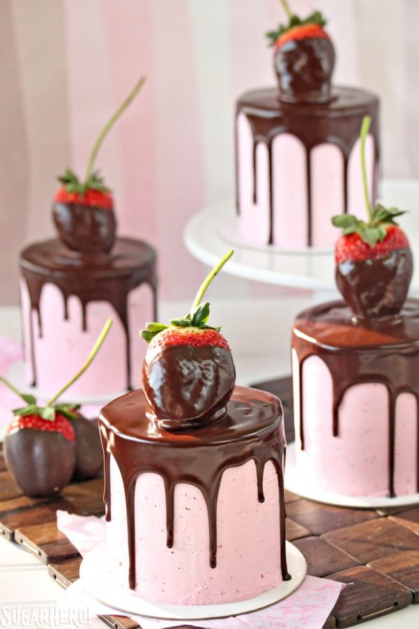 Mini Chocolate Covered Strawberry Cakes | Easy Drip Cakes