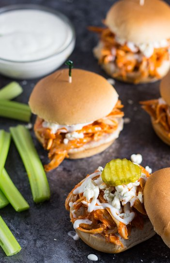 Shredded Buffalo Chicken Sliders | Easy Slider Recipes