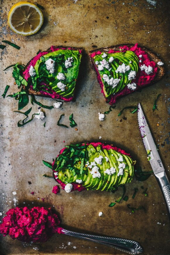 Avocado Beet Hummus Toast | 13 Fancy Avocado Toasts That Are Totally Craveable