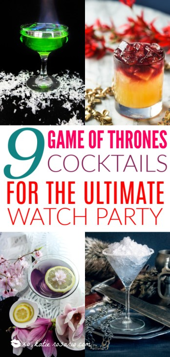 Are you obsessed with Game of Thrones? If so you must try this Game of Thrones Inspired Cocktails! These Game of Thrones Cocktails are inspired by events and characters we have grown to love. These cocktails are the perfect treat for your Final Season premiere watch party. #xokatierosario #easycocktailrecipes #gameofthroneswatchparty #gameofthronerecipes