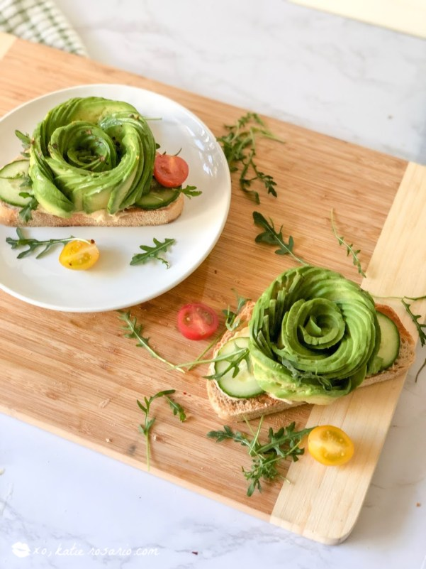 This avocado rose toast is beyond impressive and makes you feel like a food stylist after making it. This avocado rose toast recipe has everything from crisp and clean but is still satisfying and straightforward! With these tips and tricks now you can also be a food stylist while creating this fancy avocado rose toast easily at home! #xokatierosario #avocadotoastrecipes #avocadorosetoast #foodstylist