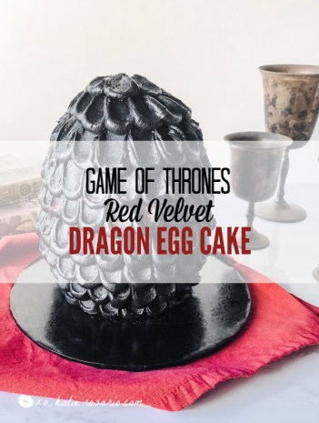 This Dragon Egg Cake is made with a foolproof red velvet cake recipe that anyone can make it and everyone will devour. The bright red velvet cake is a perfect choice and its incredible with rich dark chocolate ganache and creamy vanilla buttercream dragonscales. Whether you are throwing a Game of Thrones party or just want to be the Mother of Dragons for a day, you'll love this Red Velvet Dragon Egg Cake! #xokatierosario #gameofthronescake #dragonscalecake #redvelvetdragoneggcake