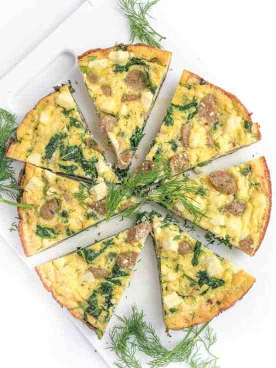 Sausage and Kale Frittata | These Easter brunch recipes are perfect for entertaining or enjoying a weekend brunch any time. You'll happily enjoy these creative brunch recipes on Easter morning. There's many sweet and savory brunch recipe to choose from the easiest french toast bake to a sourdough egg casserole and more. Here are 15 Easter Sunday brunch recipes to feed a crowd! #xokatierosario #easterbrunchrecipes #easterbrunch #easybrunchrecipes