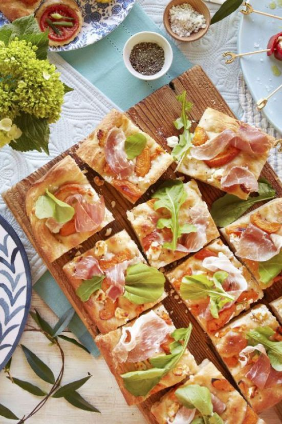 Apricot Prosciutto Focaccia | These Easter brunch recipes are perfect for entertaining or enjoying a weekend brunch any time. You'll happily enjoy these creative brunch recipes on Easter morning. There's many sweet and savory brunch recipe to choose from the easiest french toast bake to a sourdough egg casserole and more. Here are 15 Easter Sunday brunch recipes to feed a crowd! #xokatierosario #easterbrunchrecipes #easterbrunch #easybrunchrecipes