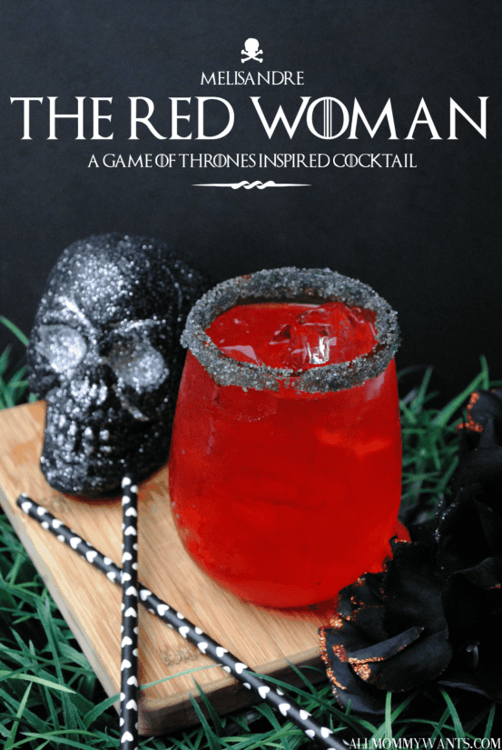 Red Woman | Are you obsessed with Game of Thrones? If so you must try this Game of Thrones Inspired Cocktails! These Game of Thrones Cocktails are inspired by events and characters we have grown to love. These cocktails are the perfect treat for your Final Season premiere watch party. #xokatierosario #easycocktailrecipes #gameofthroneswatchparty #gameofthronerecipes