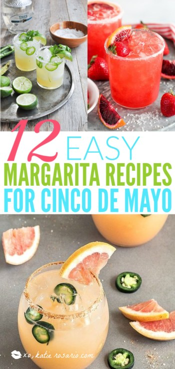 12 Easy Margarita Recipes for Cinco de Mayo | What I love most about these margarita recipes is how easily you can make these drinks ahead of time and in large batches. It's really cool how you can take simple ingredients like tequila, fruit juice, and salt and make a ton of delicious flavors. You can choose from bold and flavorful margaritas like coconut grapefruit, blackberry thyme, strawberry basil, and fresh lime & jalapeno. #xokatierosario #cincodemayo #margaritarecipes #easymargaritas