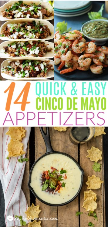 14 Quick and Easy Cinco de Mayo Appetizers | Cinco de Mayo is fast approaching, and these easy appetizers are totally perfect for the Spring Holiday! You can choose from Mexican street corn salad, scallop ceviche, white queso dip, and even churros served with a warm chocolate espresso dipping sauce. No matter what you decide to make, you'll love any of these easy Cinco de Mayo appetizers! #xokatierosario #cincodemayo #easyappetizers #cincodemayorecipes