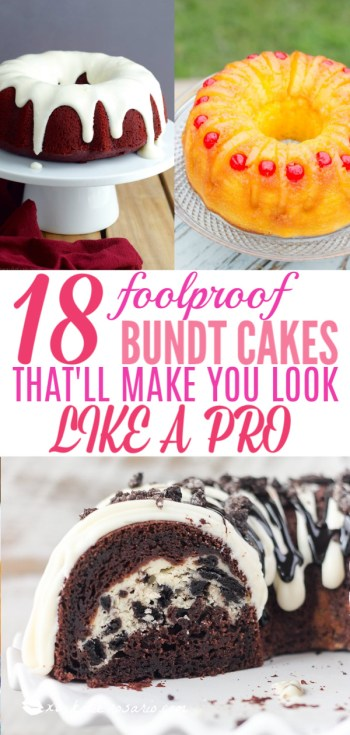 18 Foolproof Bundt Cakes That'll Make You Look Like A Pro | Bundt cakes are simple cakes that are perfect for any beginner baker. They come out beautiful every time. The bundt cake pan was originally designed for a thick, dense cake batter like a pound cake. These bundt cakes are foolproof recipes that are super impressive and taste delicious! So let's get started, here are 18 Bundt Cake Recipes That Anyone Can Make! #xokatierosario #easybundtcakerecipes #bundtcakesrecipes #bundtcakesdecorations