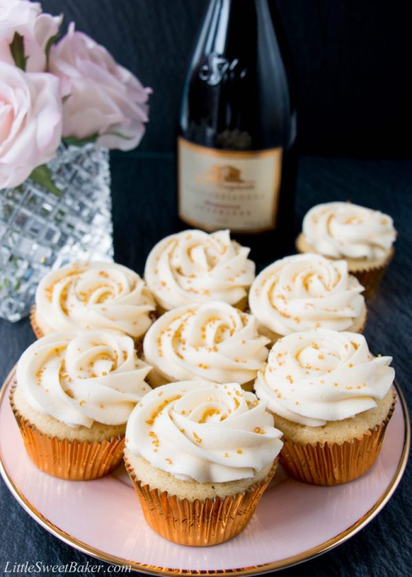 Champagne Cupcakes with Champagne Buttercream | Champagne is a luxurious ingredient that elevates each dessert and makes them the star of the show. These desserts taste not only incredible like a glass of champagne but also look stunning. These Champagne desserts are rich and decadent and perfect for celebrating Mother's Day, Bridal Showers or just because it's the weekend! #xokatierosario #champagnedesserts #champagnerecipes #mothersdayrecipes
