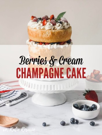 Summer berries and fresh homemade whipped cream never looked so good. This Berries & Cream cake is made from a sweet champagne cake with fresh stabilized whipped cream, juicy summer berries and a hint of mint. You seriously can't go wrong with fresh strawberries, raspberries, and blueberries for a summertime dessert. #xokatierosario #champagnecake #berriesandcream #nakedcake