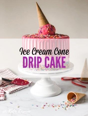This is a fun and festive Ice Cream Cone Drip Cake for people of all ages to enjoy. Fluffy, moist vanilla cake studded with funfetti rainbow sprinkles, coated in creamy vanilla buttercream and hot pink chocolate drip. This semi-homemade cake recipe takes a store bought box mix and a homemade pound cake. Together makes a moist foolproof cake every time. #xokatierosario #icecreamconecake #dripcake #icecreampartyideas #cakedecorating