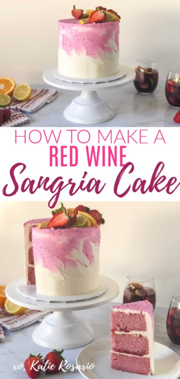 Learn how to make this bright and flavorful Red Wine Sangria Cake! This Red Wine Sangria Cake will please all palates since it's well balanced with sweet and tart flavors. Learn how to take basic cake decorating tips and tricks to make this decadent Red Wine Sangria Cake. See how to make this red watercolor buttercream cake easily at home! #xokatierosario #cakedecoratingtipsandtricks #sangriacake #winecakemadefromscratch