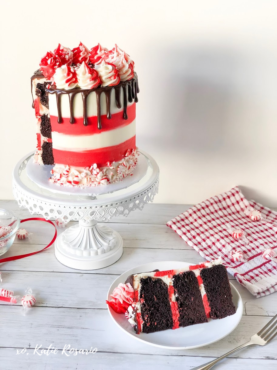 The holidays are fast approaching, and there's no better way to celebrate Christmas than with this chocolate peppermint swirl cake. This cake recipe is a perfect Christmas dessert that everyone will love! Learn how to make this chocolate peppermint swirl cake that'll have you singing Christmas carols! #xokatierosario #chocolatepeppermintcake #chocolatecake #christmascakeideas #cakedecoratingtipsandtricks