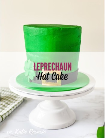 Looking for a creative cake to celebrate St. Patrick's Day? This Leprechaun Hat Cake is beyond perfect for this lucky holiday! This Leprechaun hat cake is made with dark chocolate cake layers, filled with Irish Cream buttercream and completed with green vanilla buttercream. DIY Leprechaun Hat Cake That's Simple & Easy to Make! #xokatierosario #leprechaunhat #leprechauncake #stpatricksdaycake #irishcreamcake