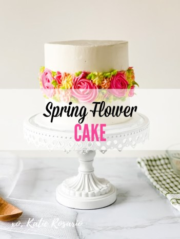 Learn how to make this spring flower cake that is perfect when learning a new skill. This spring flower cake is perfect for newbies and home bakers who want to bring a little springtime into their home! The inspiration for this cake came from the bright colors of the new spring flowers and the trendy fault line cake. I made this cake tutorial very simple and easy to follow so that any home baker can succeed! #xokatierosario #flowerfaultlinecake #cakedecoratingtipsandtricks #springcake