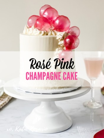 Learn how to make this sweet and decadent Pink Champagne Cake for Mother's Day! This cake has showstopper qualities with its delicious rose champagne flavor, beautiful design and edible gelatin bubbles. The shimmer from the sugar crystals really tie in the pink champagne theme. It's a simple DIY Pink Champagne Cake with edible bubbles. #xokatierosario #pinkchampagnecake #ediblebubbles #mothersdaycake #cakedecoratingtips