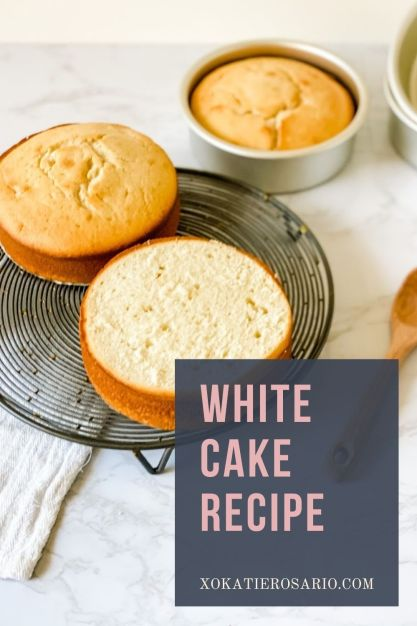 Learn how to make this perfectly moist white cake recipe. This white cake recipe will quickly become your new standard cake recipe for any occasion. Created by Katie Rosario, XOKatieRosario creates beautiful cake decorating techniques that are easy for beginners and strategically designed for any home baker. #xokatierosario #katierosariocakes #whitecakerecipe #weddingcake #sourcreamcake