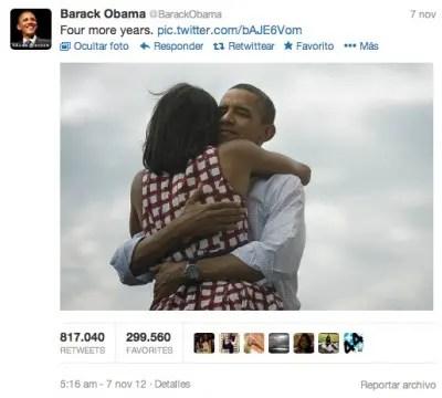 Tweet reelección Obama