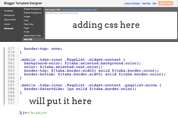 adding css code to b:skin or template