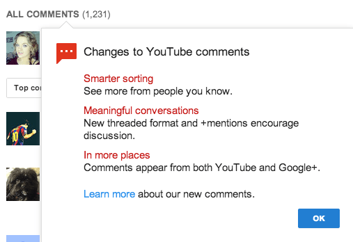 Youtube comments using google plus