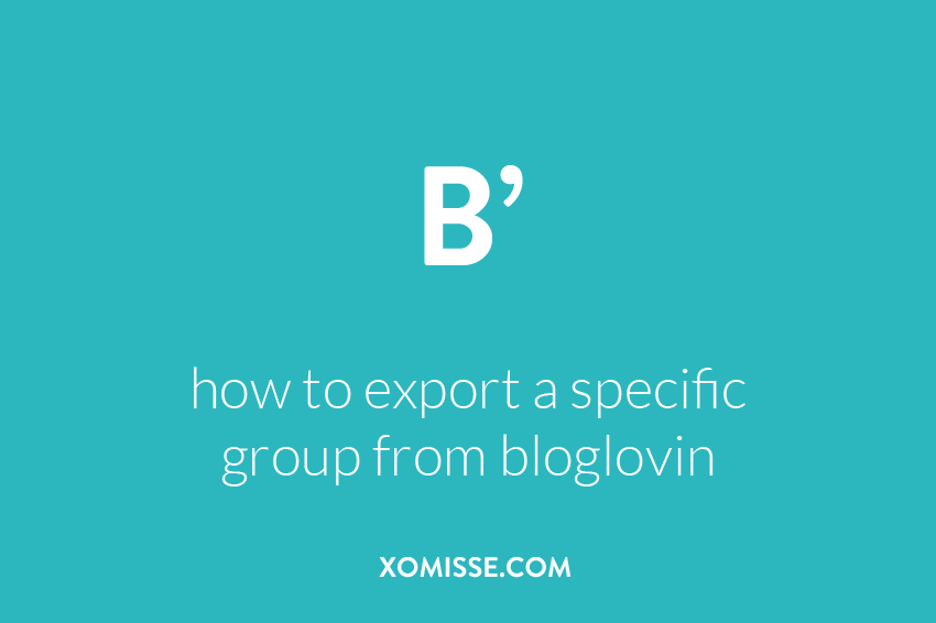 How to export a category from Bloglovin