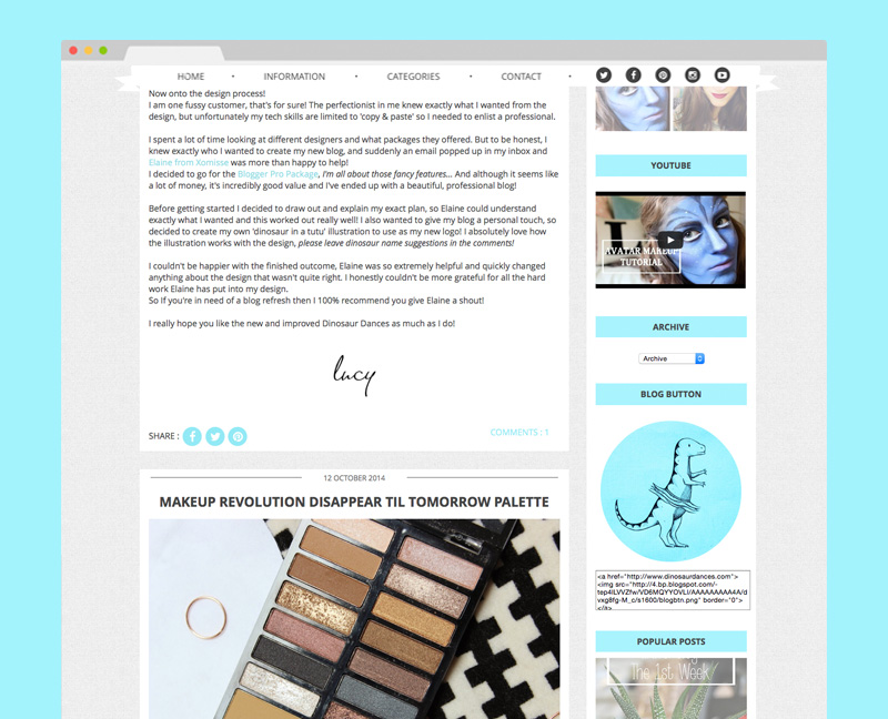 Custom Blog Design for Blogger with recent post slider, popular post fading slider, sticky drop down navigation, social icons and more