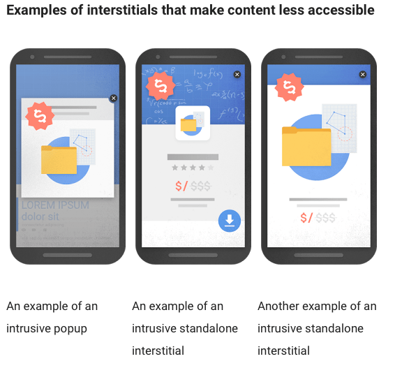SEO tips: Google to penalise mobile sites with pop-ups and other intrustive interstitials. Examples shown.