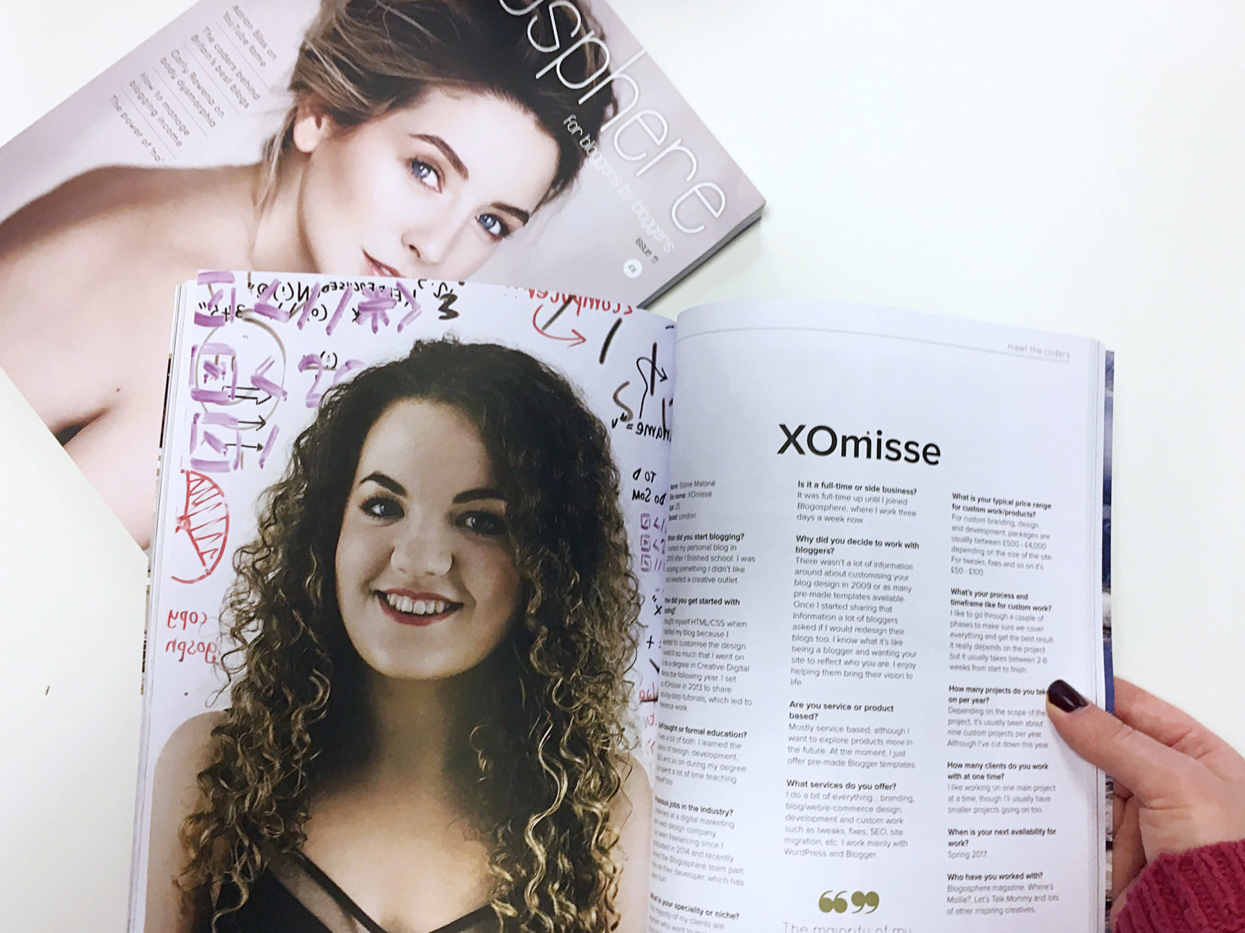 Blogosphere Issue 11 with Zoe Sugg, Zoella. Meet The Coders feature with XOmisse, pipdig and Nose Graze.