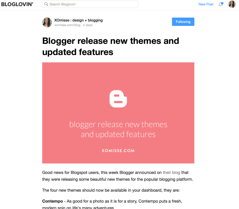 Bloglovin showing your full post on their site