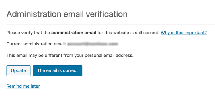 WordPress 5.3 new admin email verification screen