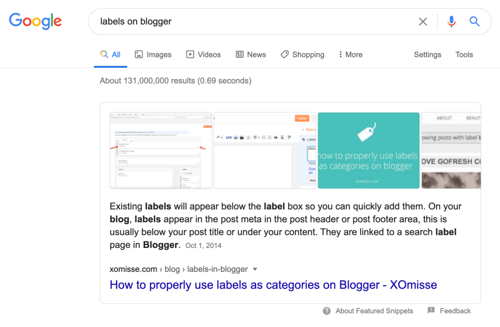 An example of a post from xomisse.com as the Featured Snippet on Google
