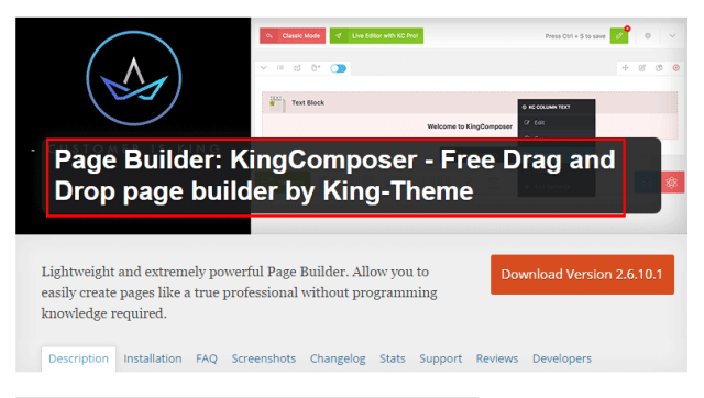 Best Free Drag and Drop page builder by King-Theme