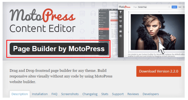 Best quality Free WP Page Builder by MotoPress