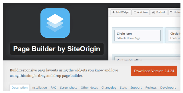 Site Origin WP Page Builder Plugin