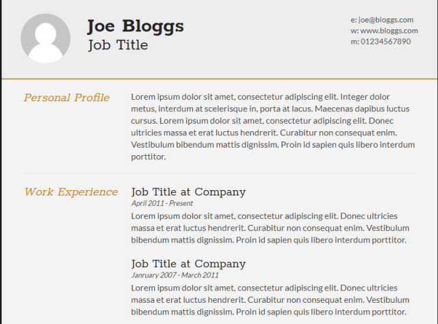 CV is a best quality Free HTML Resume Template