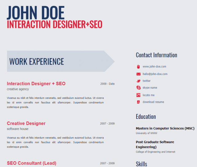 30 free html resume template collection xoothemes