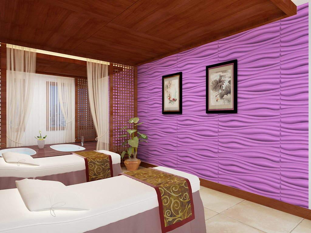 Mẫu xốp dán tường vân sóng màu tím